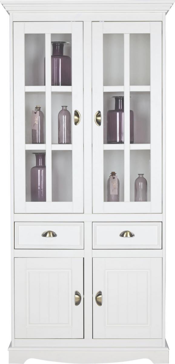 Vitrine Claudia - Weiß, Glas/Holz (90/190/44,5cm) - Premium Living
