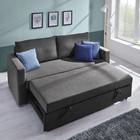 Sofa Joe mit Schlaffunktion inkl. Rückenkissen - Chromfarben/Dunkelgrau, MODERN, Holz/Textil (204/93/162/83cm) - Mömax modern living