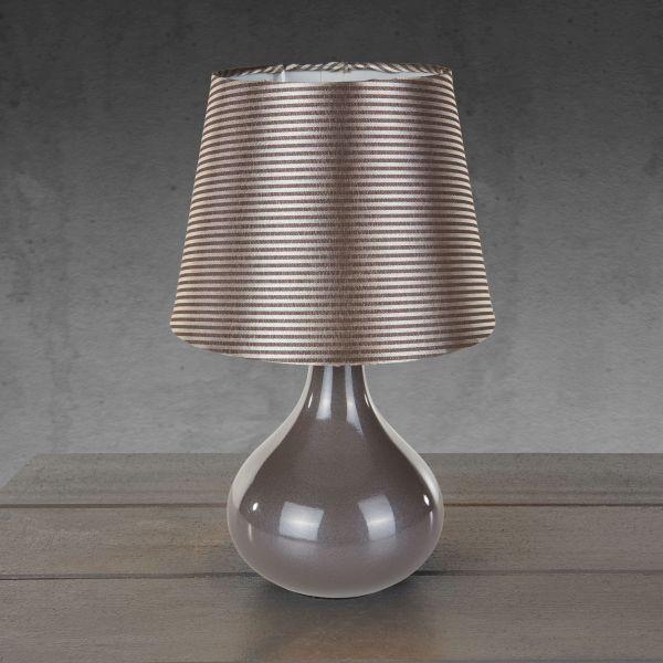 Tischleuchte Carlos - Grau, MODERN, Keramik/Textil (17/27cm)