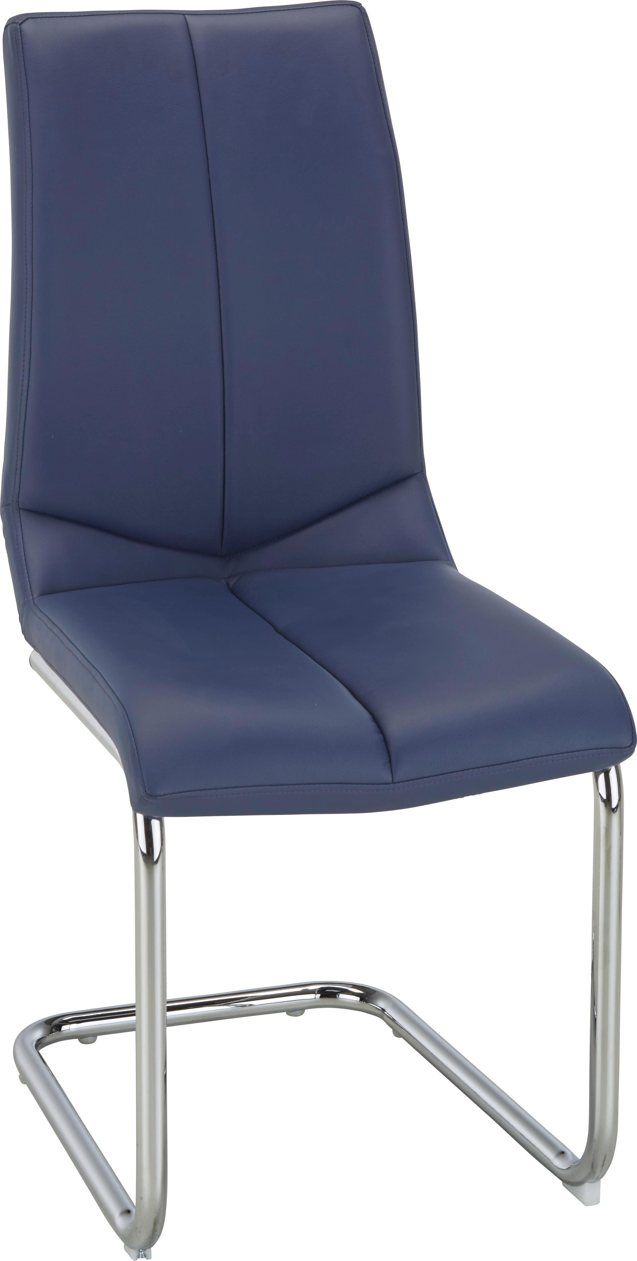 Schwingstuhl in Blau - Blau/Chromfarben, MODERN, Textil/Metall (47/97/56cm) - BASED