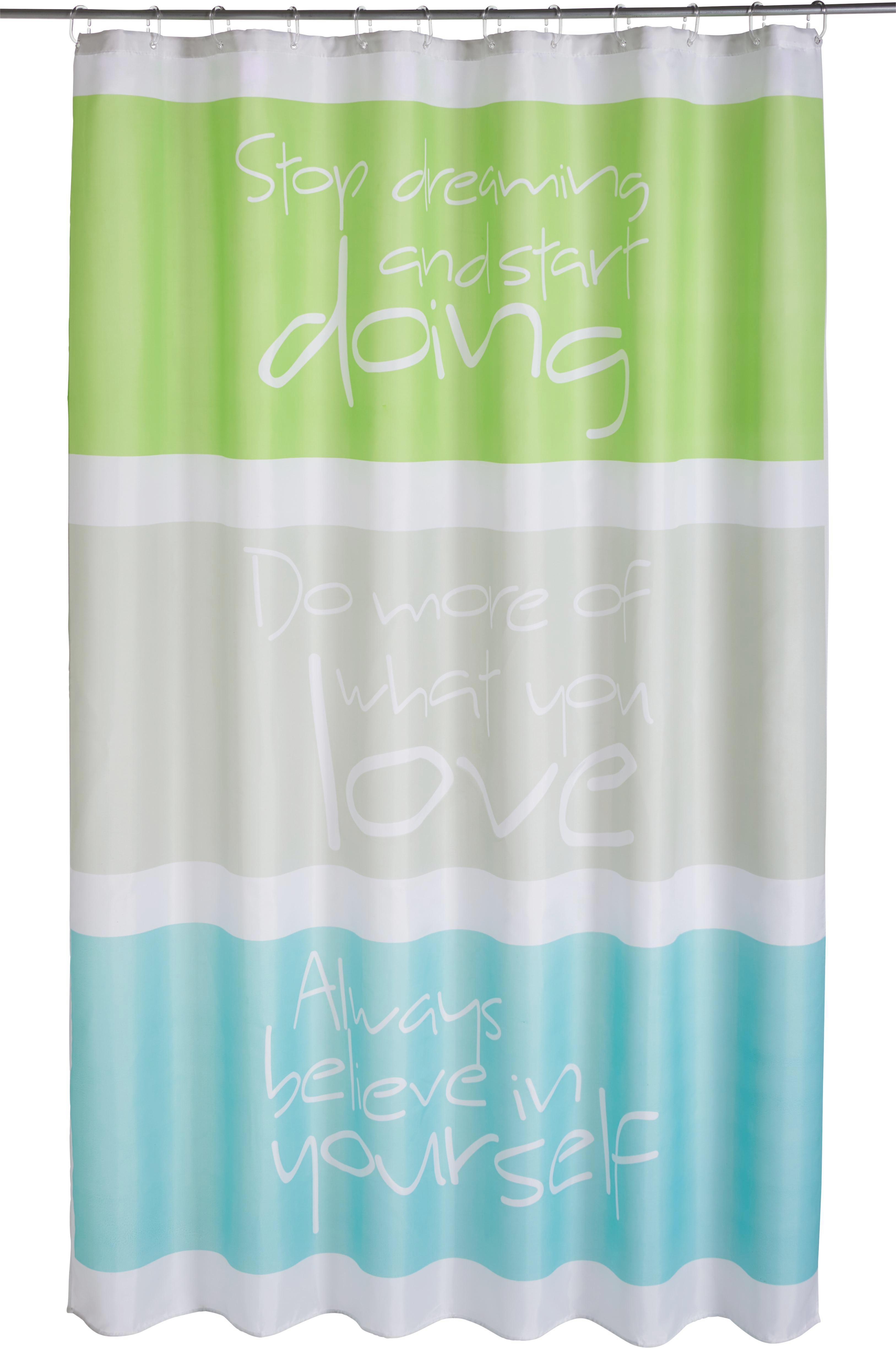 Duschvorhang Always, ca.180x200cm - Grau/Grün, Textil (180/200cm) - MÖMAX modern living