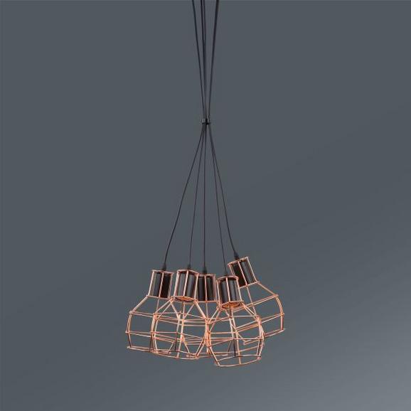 Hängeleuchte Nia, max. 5x40 Watt - Schwarz/Kupferfarben, MODERN, Metall (15/127cm) - MÖMAX modern living