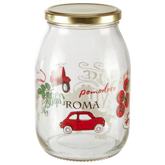 Einmachglas Sauce mit Buntem Design - Transparent/Rot, Glas (10,8/16cm) - Mömax modern living