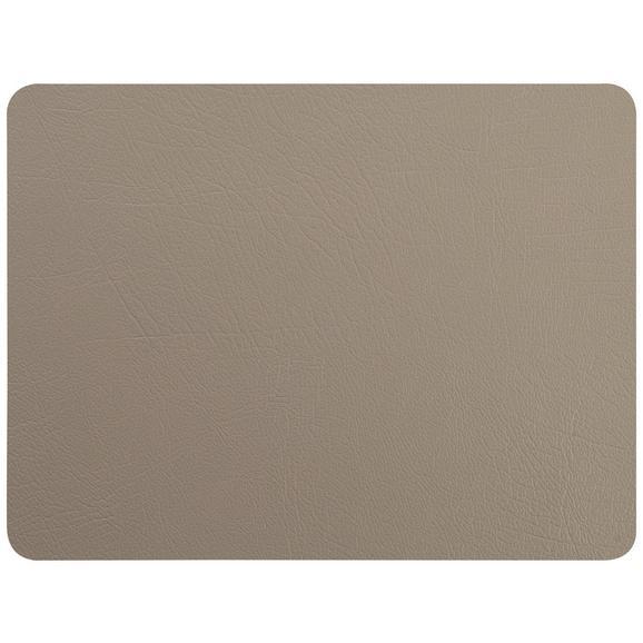 Tischset Jette aus Leder in Grau - Grau, Leder (42/33cm) - Premium Living