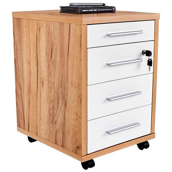 Dulăpior Rulant Profi - alb/culoare lemn stejar, Modern, compozit lemnos (43/62/48cm) - Ombra