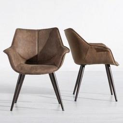 Armlehnstuhl Ilaria - Dunkelbraun/Braun, MODERN, Textil/Metall (69/82/65cm) - Mömax modern living