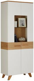 Vitrine Weiß/Eiche - Eichefarben/Weiß, LIFESTYLE, Holz/Holzwerkstoff (75/196/40cm) - Mömax modern living