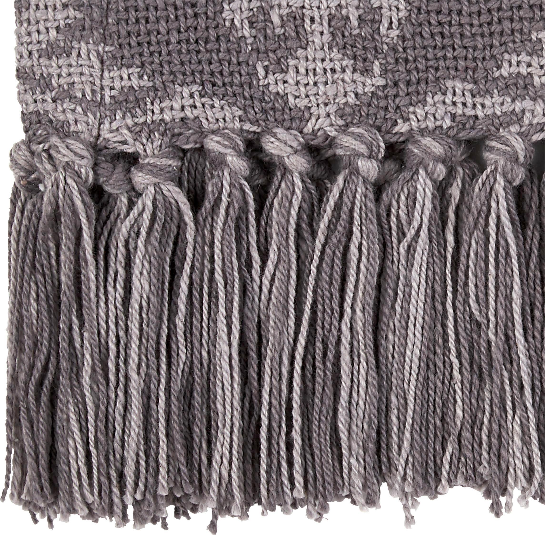 Baumwolldecke Ornament 130x170cm - Dunkelgrau/Hellgrau, MODERN, Textil (130/170cm) - MÖMAX modern living