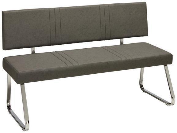 Sitzbank Grau/Chromfarben - Chromfarben/Grau, MODERN, Textil/Metall (145/84,5/57cm) - Mömax modern living