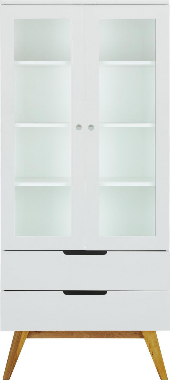 Vitrine in Weiß/Braun - Braun/Weiß, MODERN, Glas/Holz (85/190/45cm) - ZANDIARA
