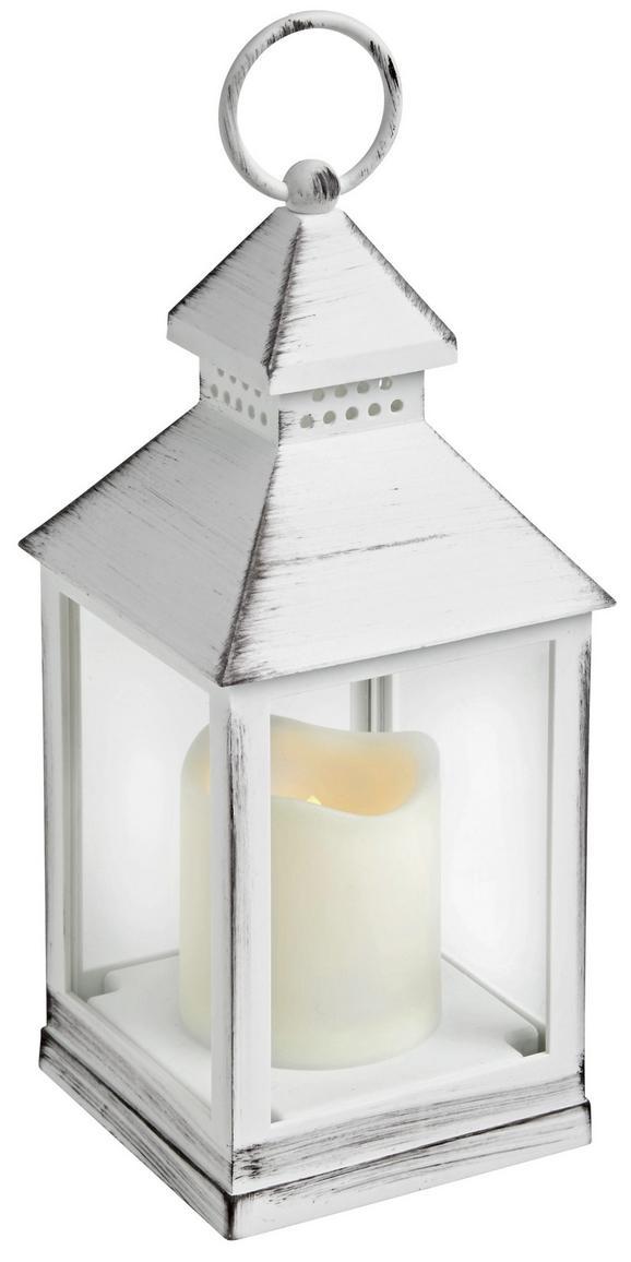 Laterne Max in Weiß mit Led - Weiß, KONVENTIONELL, Kunststoff (10,5/24/10,5cm) - MÖMAX modern living