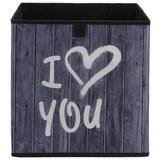 Aufbewahrungsbox Poppi mit Schriftzug - Weiß/Grau, MODERN, Karton/Textil (32/32/32cm) - Based