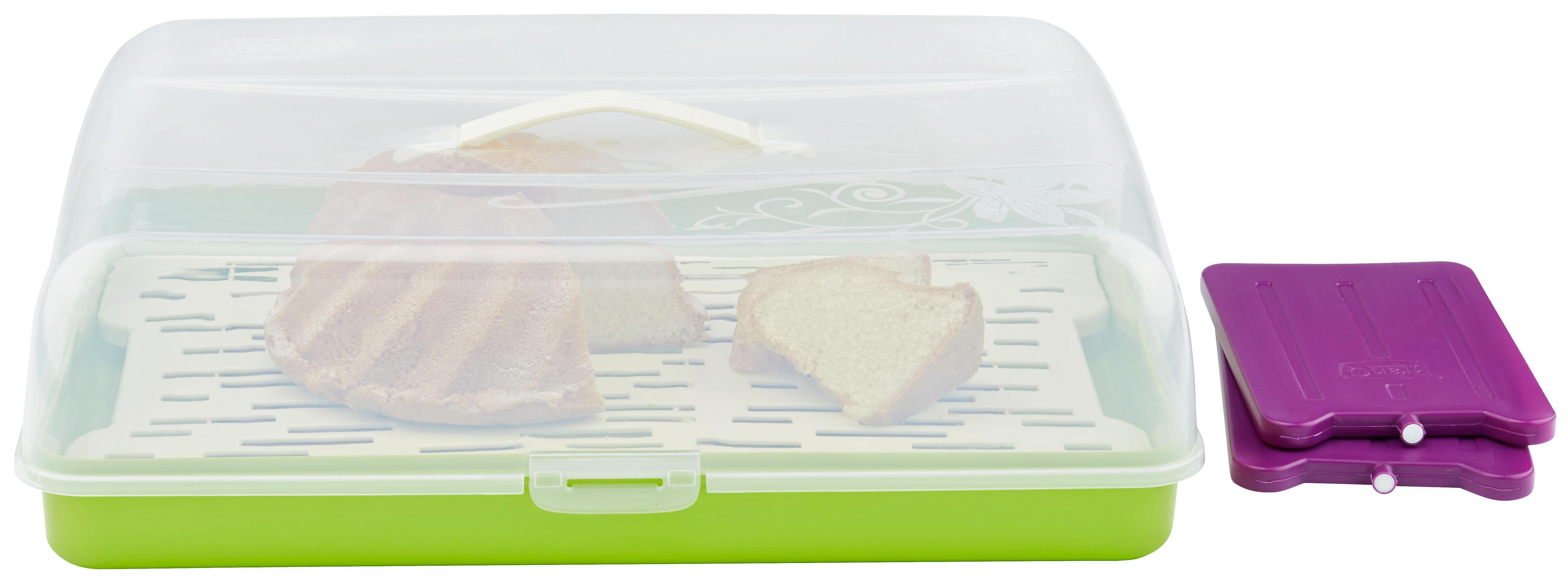 Kuchentransportbox Kimi - M. Kühlakku + Einsatz - Transparent/Lila, Kunststoff (42/29/12,5cm) - MÖMAX modern living