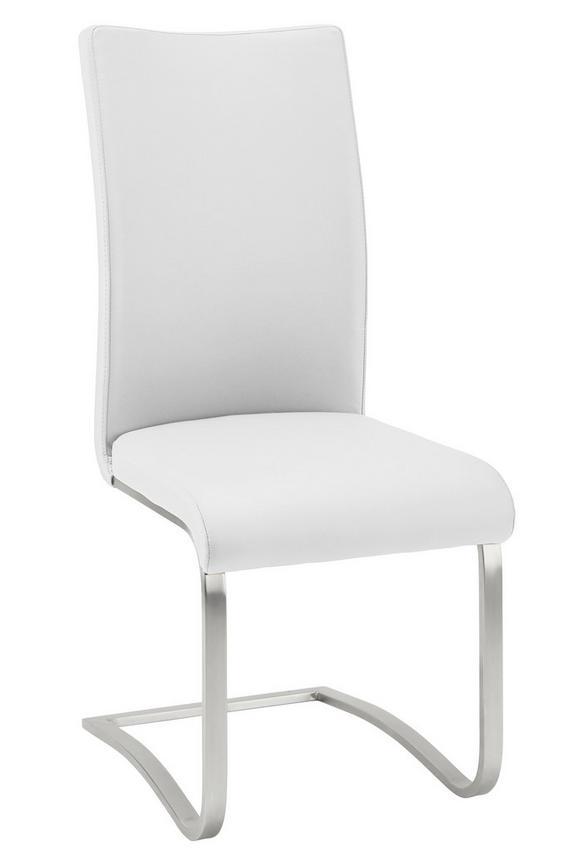 Schwingstuhl in Weiß - Edelstahlfarben/Weiß, MODERN, Textil/Metall (52/103/43cm) - PREMIUM LIVING