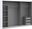 Schwebetürenschrank in Grau - Chromfarben/Eichefarben, KONVENTIONELL, Holzwerkstoff/Kunststoff (270/210/62cm) - Modern Living