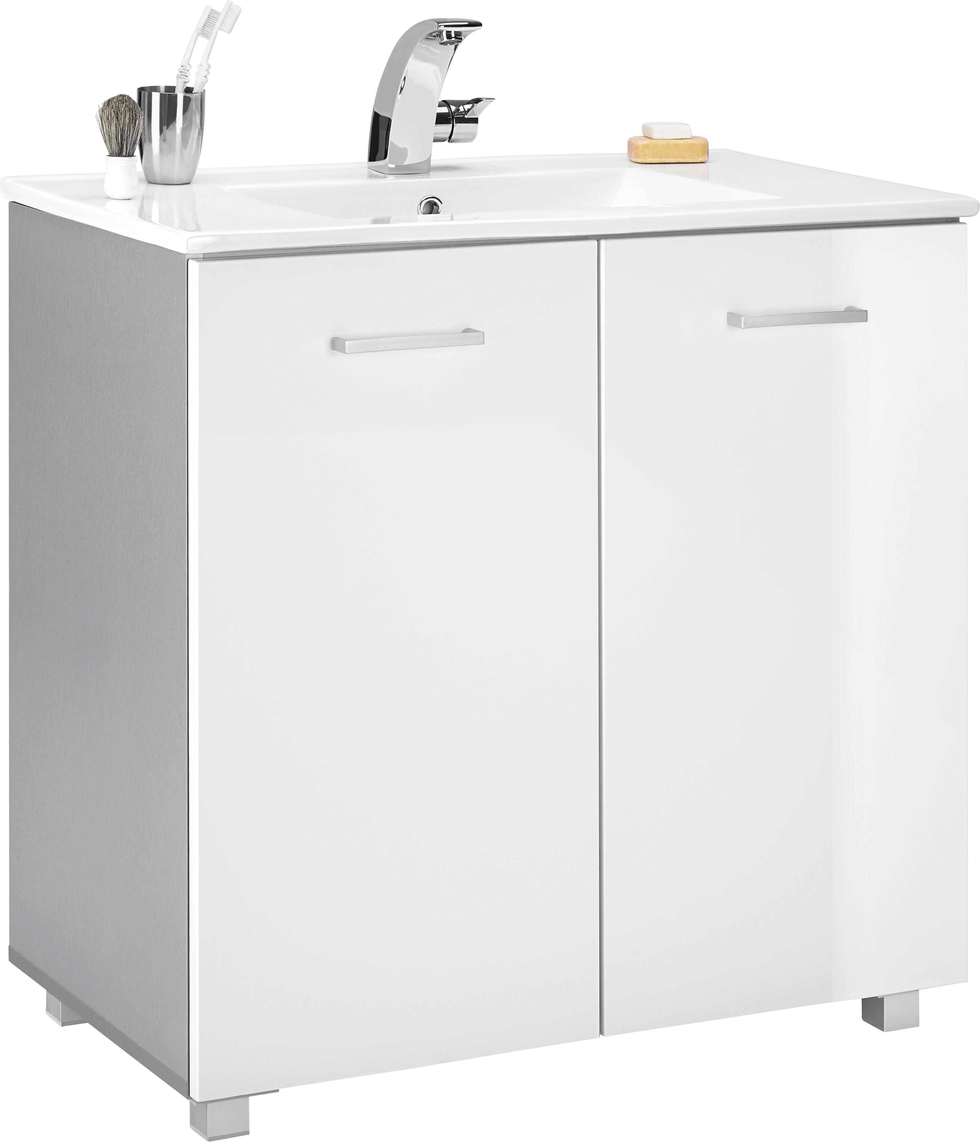 Waschtischkombi in Weiß Hochglanz - Silberfarben/Weiß, MODERN, Keramik/Holzwerkstoff (83/84/47cm) - MÖMAX modern living
