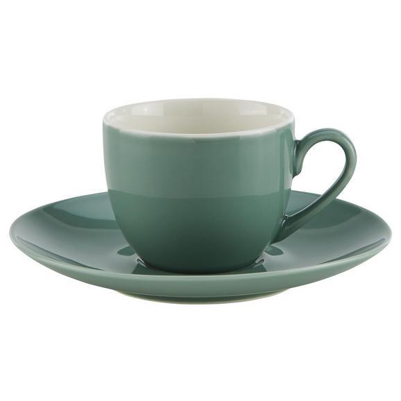 Skodelica S Krožničkom Sandy - petrolej/meta zelena, Konvencionalno, keramika (6,4/5cm) - Mömax modern living