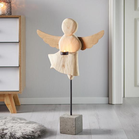Dekoengel aus Eiche H ca. 66 cm 'Marie' - Naturfarben, MODERN, Holz (66cm) - Bessagi Home