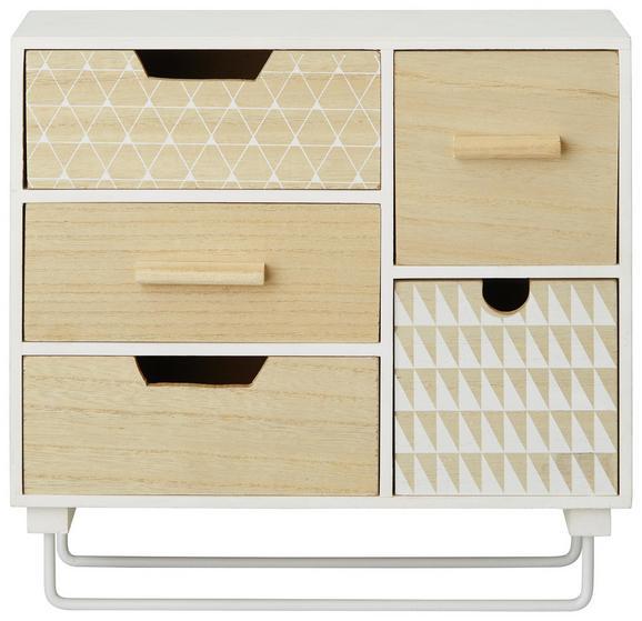 Dekorativna Komoda Livia - naravna/bela, Basics, leseni material (30/10/28cm)