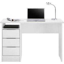 Schreibtisch in Weiß matt - Chromfarben/Weiß, Holzwerkstoff/Metall (120/76/55cm) - Based