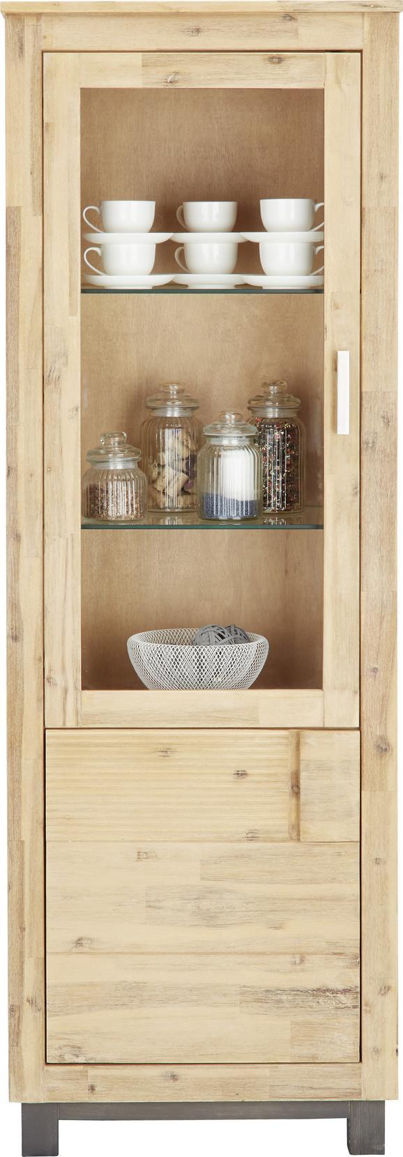 Vitrine Akaziefarben - Silberfarben/Akaziefarben, KONVENTIONELL, Glas/Holz (65/190/45cm) - Zandiara