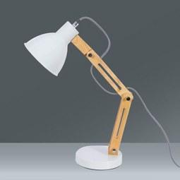 Schreibtischleuchte Omar, max. 25 Watt - Eichefarben/Weiß, LIFESTYLE, Holz/Metall (20/47cm) - Mömax modern living