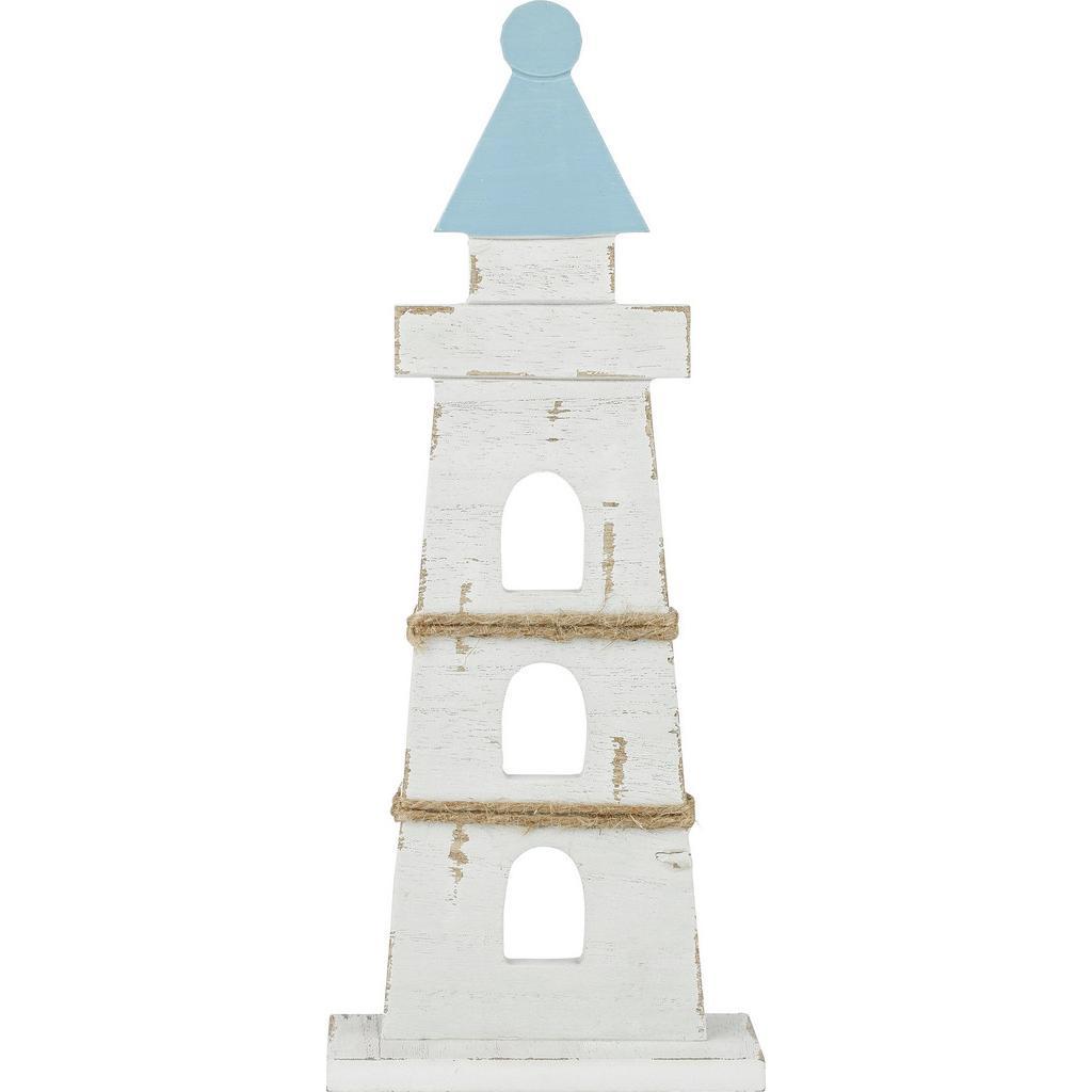 Dekoleuchtturm Paul in Weiß/Blau