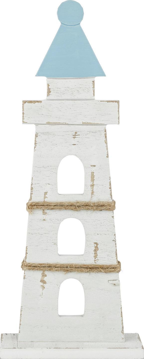 Dekoleuchtturm Paul in Weiß/Blau - Weiß/Hellblau, LIFESTYLE, Holz (12,5/31/5,5cm)