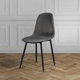 Stuhl Ida - Dunkelgrau, MODERN, Textil/Metall (44/89/41,5cm) - Modern Living