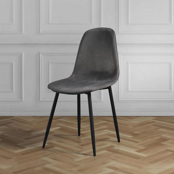 Stuhl Ida - Dunkelgrau/Schwarz, MODERN, Holz/Textil (44/89/41,5cm) - Modern Living