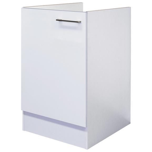 Spülenunterschrank Weiß - Edelstahlfarben/Weiß, MODERN, Holzwerkstoff/Metall (50/82/60cm) - FlexWell.ai