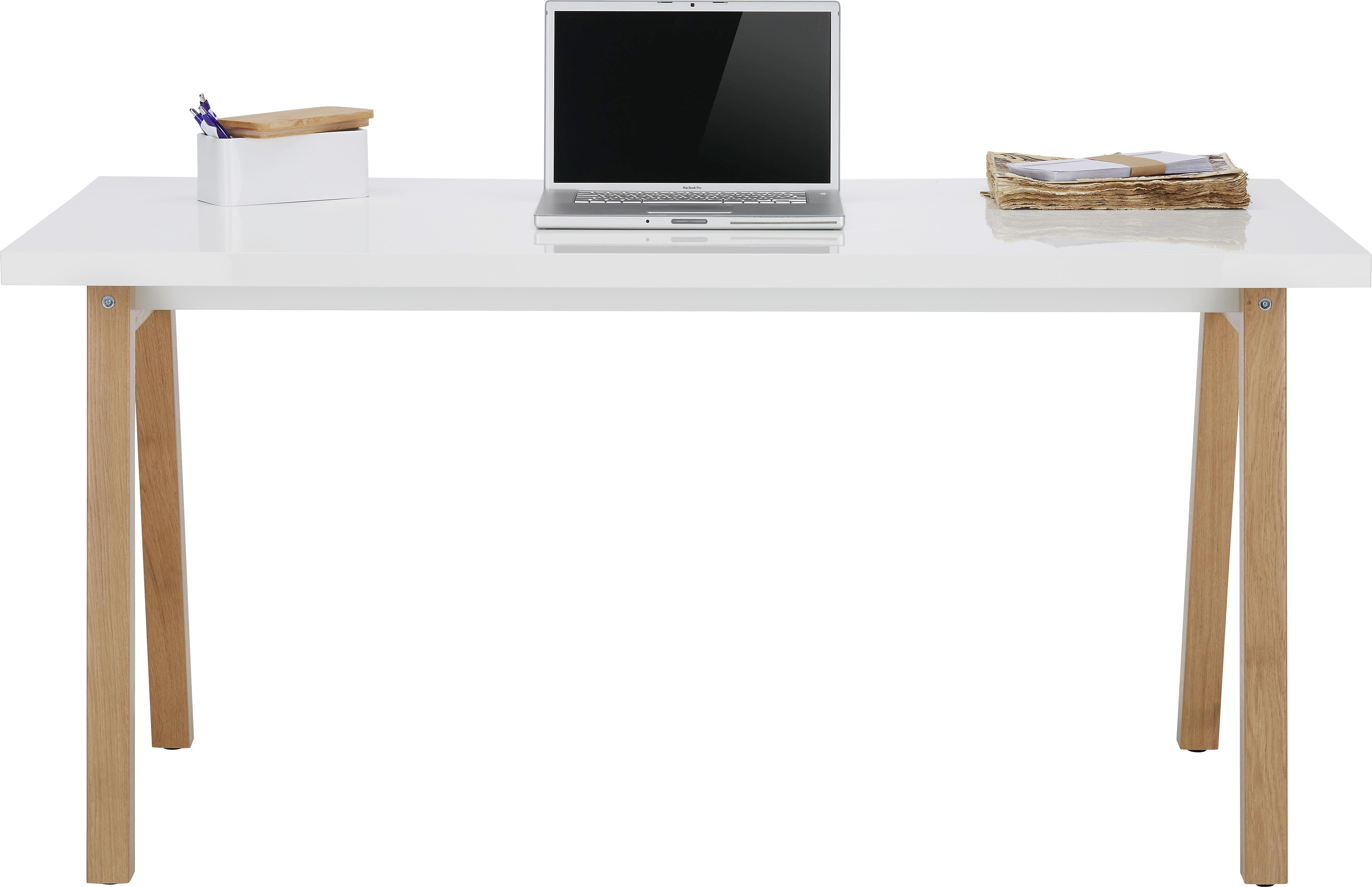 Schreibtisch holz modern  Schreibtisch in Weiß/Eichefarben online kaufen ➤ mömax