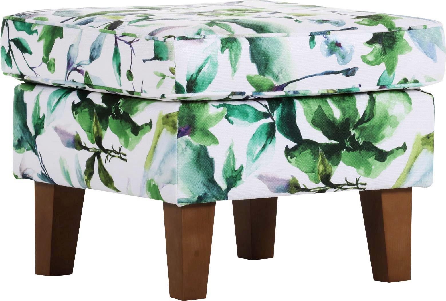 Hocker Grün/Weiß - Multicolor/Naturfarben, ROMANTIK / LANDHAUS, Textil (55/44/55cm) - ZANDIARA