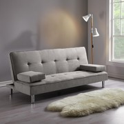 Sofa Esther mit Schlaffunktion - Chromfarben/Grau, MODERN, Holz/Textil (181/82/89cm) - Modern Living