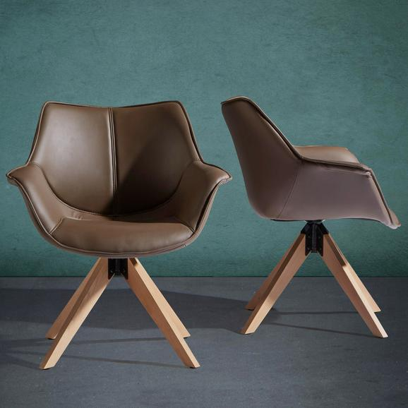 Armlehnstuhl Hella - Braun, MODERN, Holz/Textil (71/80/63cm) - MODERN LIVING