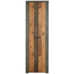 Garderobenschrank in Beton- und Holzoptik - Schwarz, MODERN, Holzwerkstoff/Kunststoff (62/198/34cm)