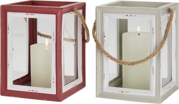 Svečnik Lilian - rdeča/bela, Romantika, leseni material (14/14/19cm)