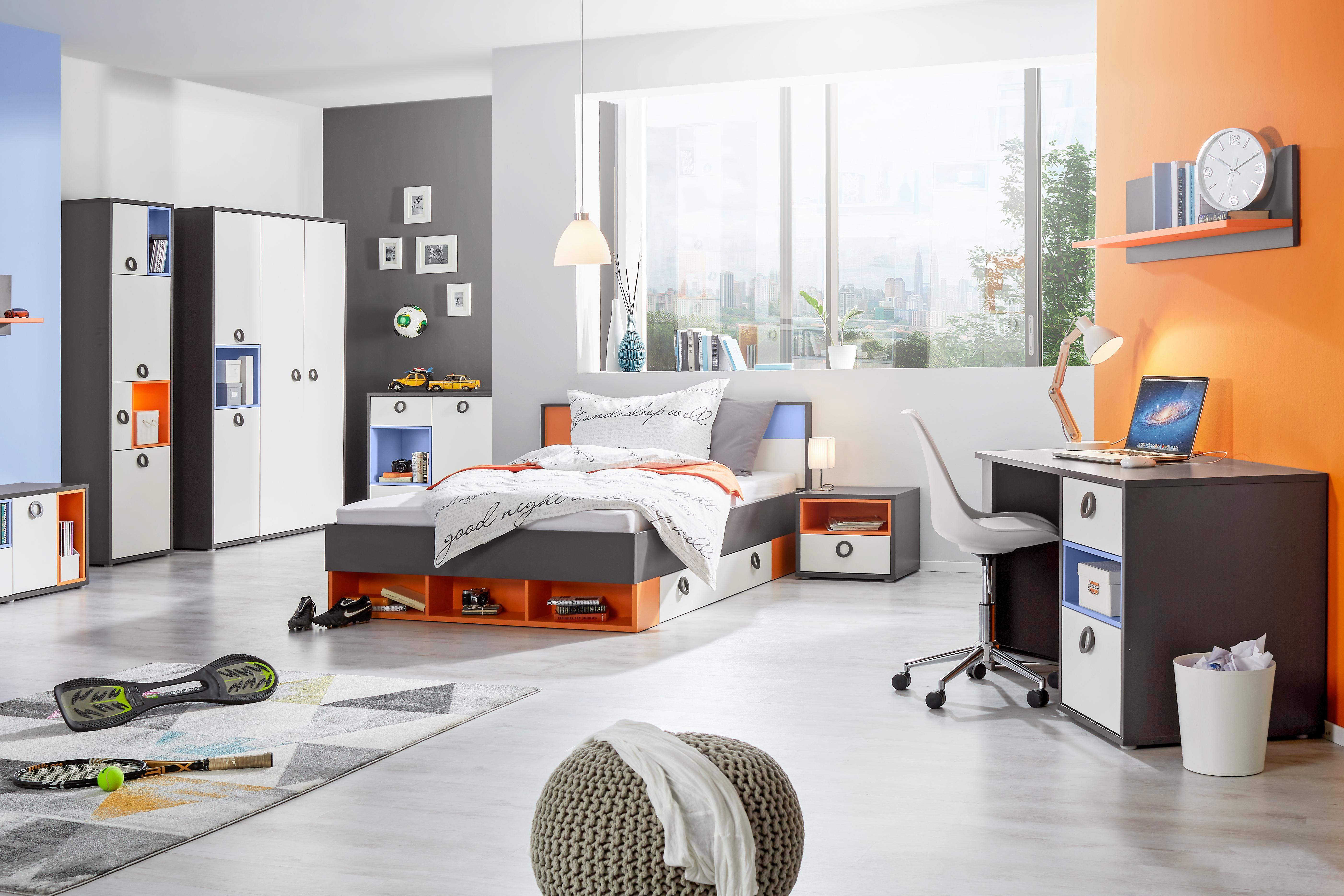 Nachtkästchen in Weiß/Grau/orange - Alufarben/Weiß, KONVENTIONELL, Holzwerkstoff/Kunststoff (50/42/42cm) - MODERN LIVING