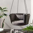 Hängesessel Coby in Grau mit Auflage - Grau, MODERN, Kunststoff/Textil (92/38cm) - Bessagi Garden