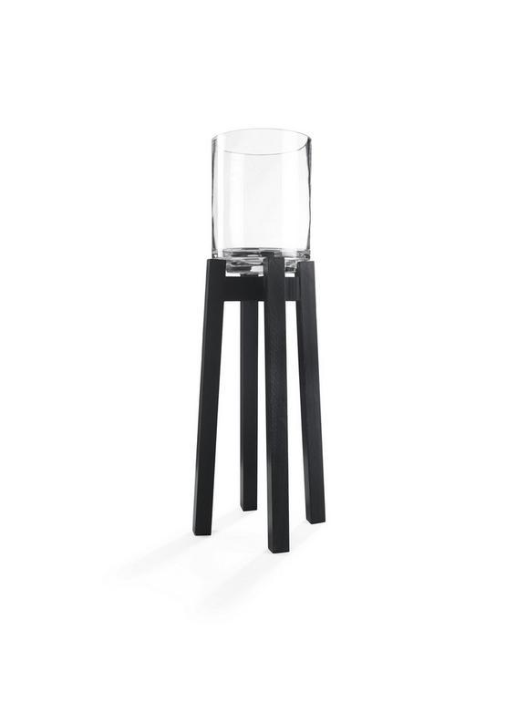 Windlicht Lukas Schwarz - Schwarz, Glas/Holz (20/20/45cm) - Mömax modern living
