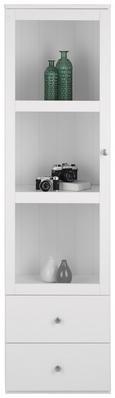 Vitrine Weiß - Silberfarben/Weiß, ROMANTIK / LANDHAUS, Glas/Holzwerkstoff (50/180/40cm) - Zandiara