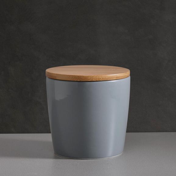 Porzellandose Haku mit Deckel - Naturfarben/Grau, MODERN, Holz/Keramik (13/13cm) - MÖMAX modern living