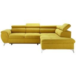 Wohnlandschaft in Gelb mit Bettfunktion - Türkis/Gelb, KONVENTIONELL, Textil/Metall (271-222cm) - Modern Living
