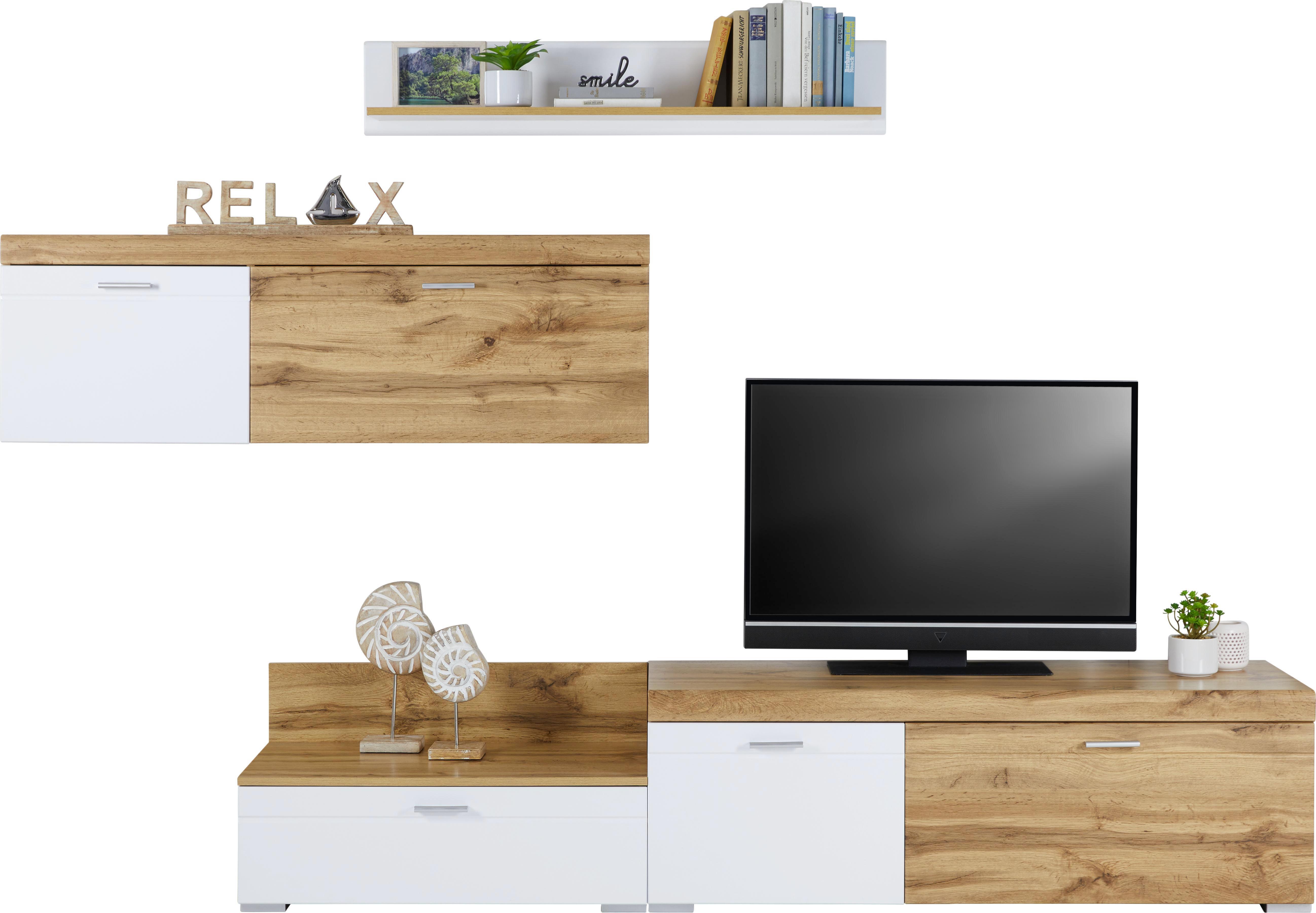 Wohnwand Weiß Hochglanz/Eichefarben   Chromfarben/Eichefarben, MODERN,  Holzwerkstoff/Kunststoff (