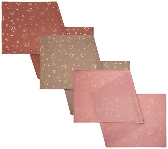 Asztali Futó Noel - Arany/Rózsaszín, Textil (45/150cm)