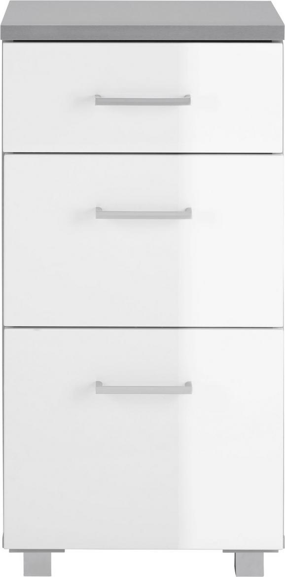 Unterschrank Weiß Hochglanz/grau - Silberfarben/Weiß, MODERN, Holzwerkstoff/Kunststoff (40/82/32cm) - MÖMAX modern living