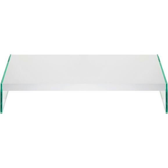 TV-Aufsatz in Weiß Hochglanz - Klar/Weiß, Glas/Holzwerkstoff (80/16/42cm) - Mömax modern living