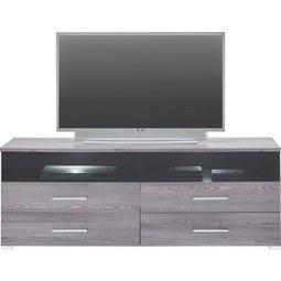 TV-Element in Lärchegrau inkl Beleuchtung - Chromfarben/Silberfarben, MODERN, Holzwerkstoff/Kunststoff (160/59/45cm) - Premium Living