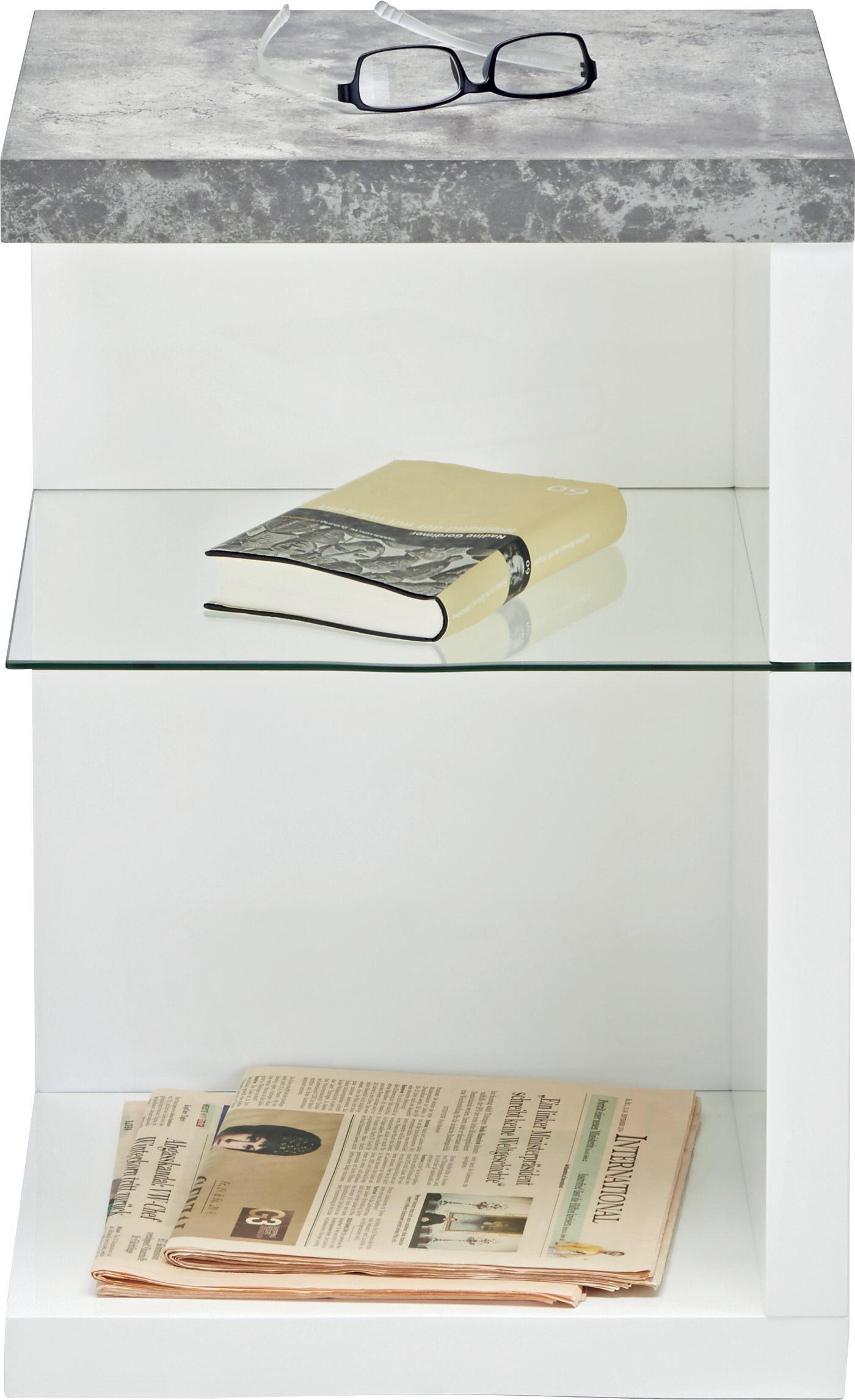 Beistelltisch in Weiß/Grau - Weiß/Grau, MODERN, Glas/Holzwerkstoff (40/60/40cm) - MÖMAX modern living