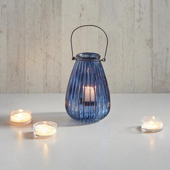 Windlicht Svenjia Ø/h ca. 14,5/21,7 cm - Blau/Schwarz, MODERN, Glas/Metall (14,5/21,7cm) - Mömax modern living